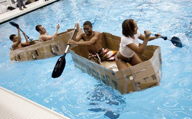 In this laughable group activity your team will have to collaborate to make your cardboard boat float!